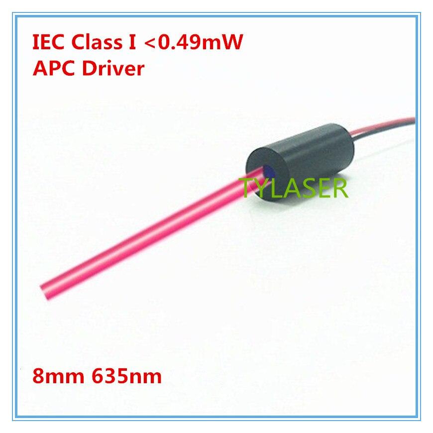 IEC Class I  0.5mw  8mm 635nm Red Dot Laser Module Industrial Grade APC Driver