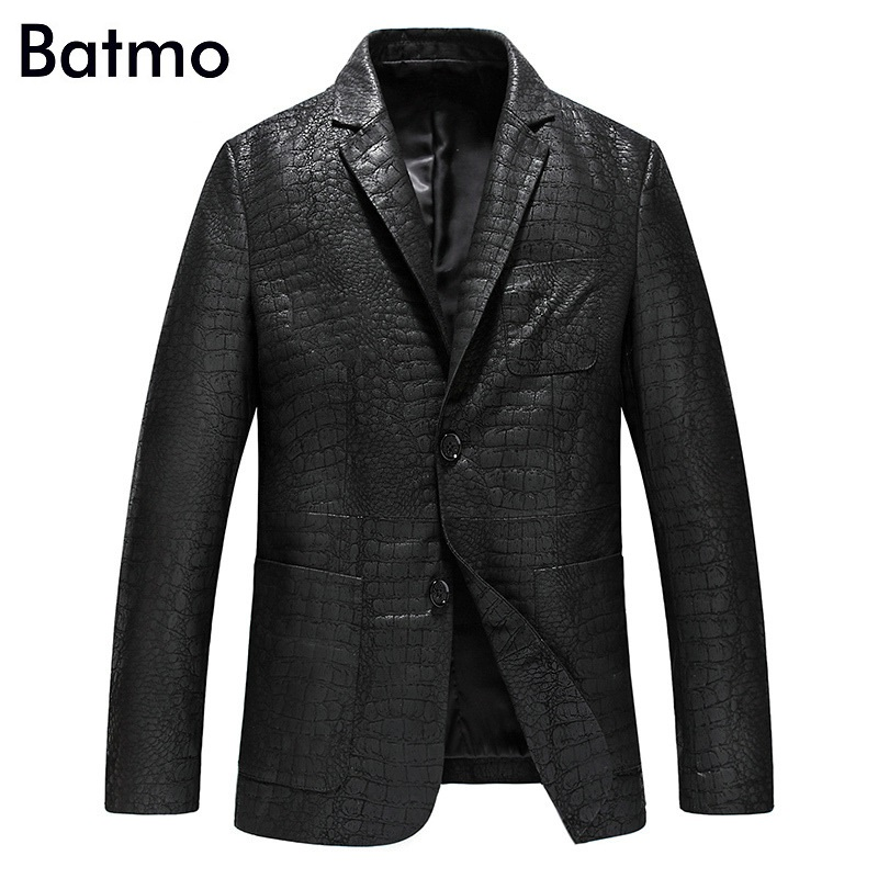 Batmo 2019 새로운 도착 봄 고품질 양피 진짜 가죽 재킷 남자, 호리 호리한 가죽 재킷 남자 크기 L 4XL yxg4201a-에서진짜가죽 코트부터 남성 의류 의  그룹 1