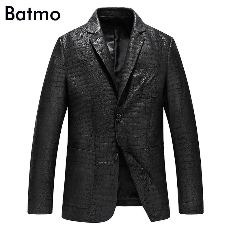 Batmo 2020 New Arrival Spring High Quality Sheepskin Real Leather Jackets Men,slim Leather Blazer Men Size L-4XL  YXG4201A