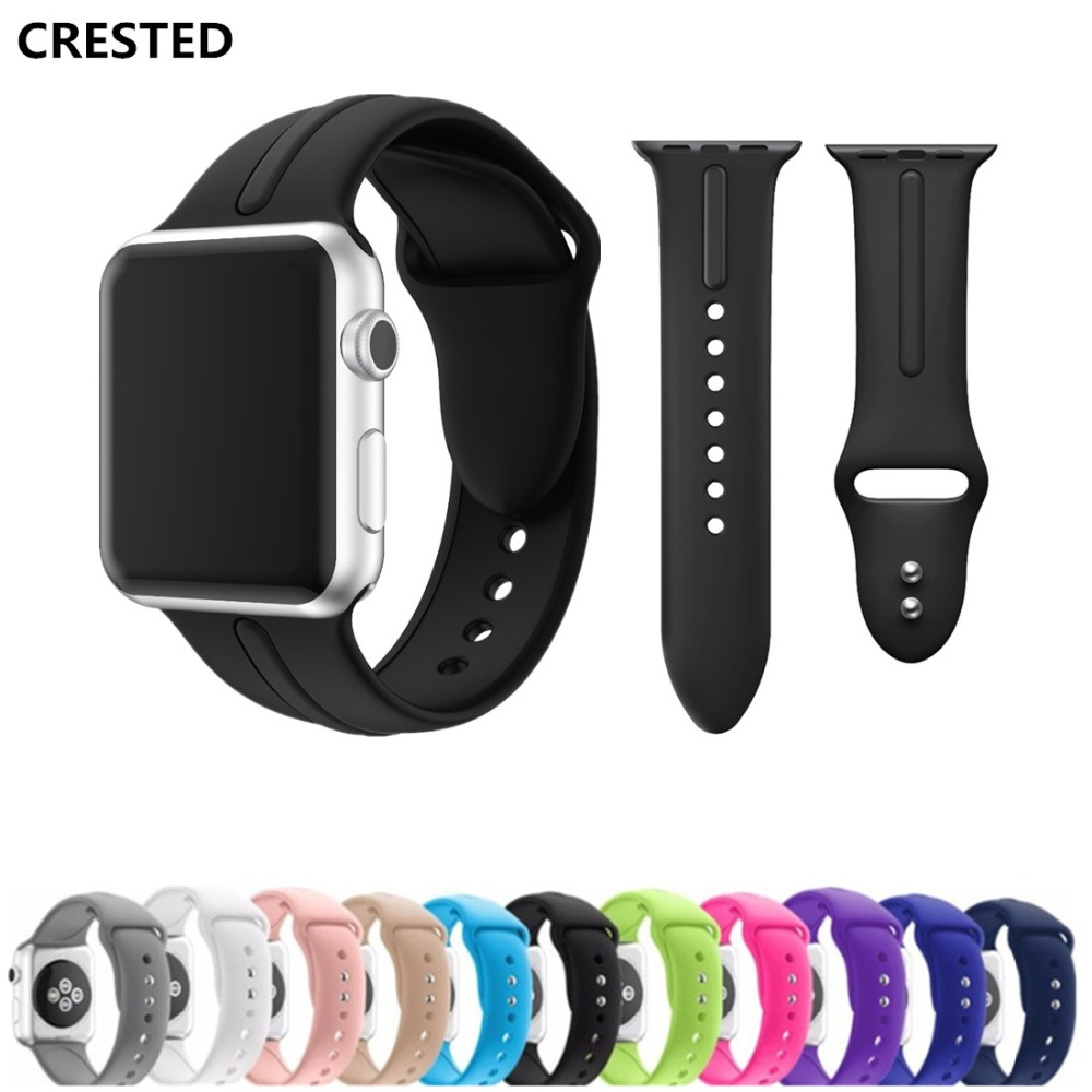 CRESTED Sport strap For Apple Watch band 42mm/38mm silicone correa iwatch series 3/2/1 rubber wristband link bracelet belt crested sport band for apple watch 42mm 38mm silicone strap iwatch series 3 2 1 wristband bracelet rubber watchband belt correa