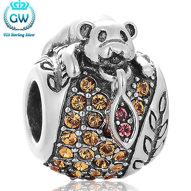 Oso de plata encantos pulseras de plata brazalete pulsera animal europea joyas y comonents gw marca x387
