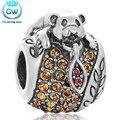 Sterling Silver Bear Charms Bracelets Silver European Bangle Animal Bracelet Jewelry Findings & Comonents GW Brand X387
