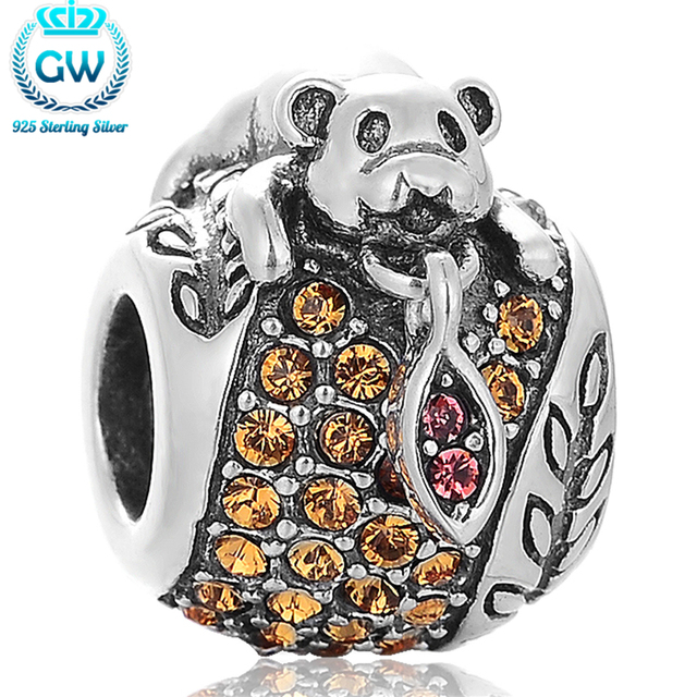 Sterling Silver Bear Charms Bracelets Silver European Bangle Animal Bracelet Jewelry Findings & Comonents GW Brand X387