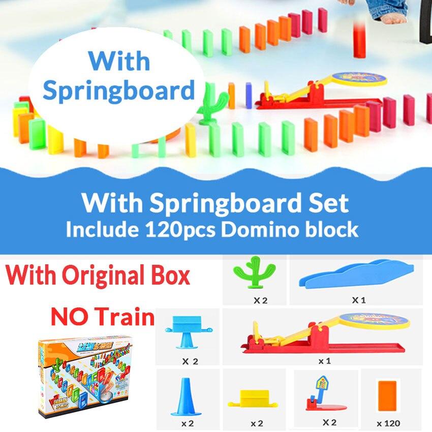 Автоматическая укладка домино кирпич Поезд Автомобиль набор звуковой светильник дети красочные пластиковые блоки домино игра игрушки набор подарок для девочек и мальчиков - Цвет: Springboard set W