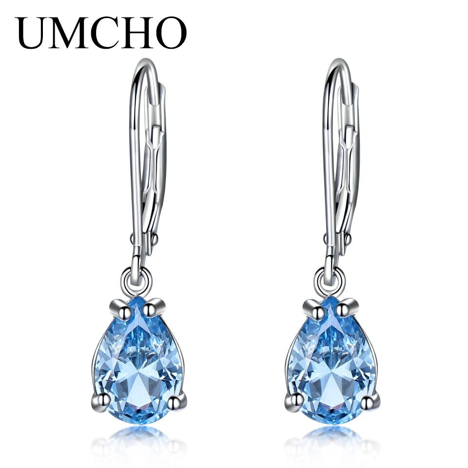 Umcho Pure 925 Sterling Silver Clip Earrings For Girls Sky Blue Topaz Gemstone Wedding ceremony Engagement Christmas Reward Wonderful Jewellery