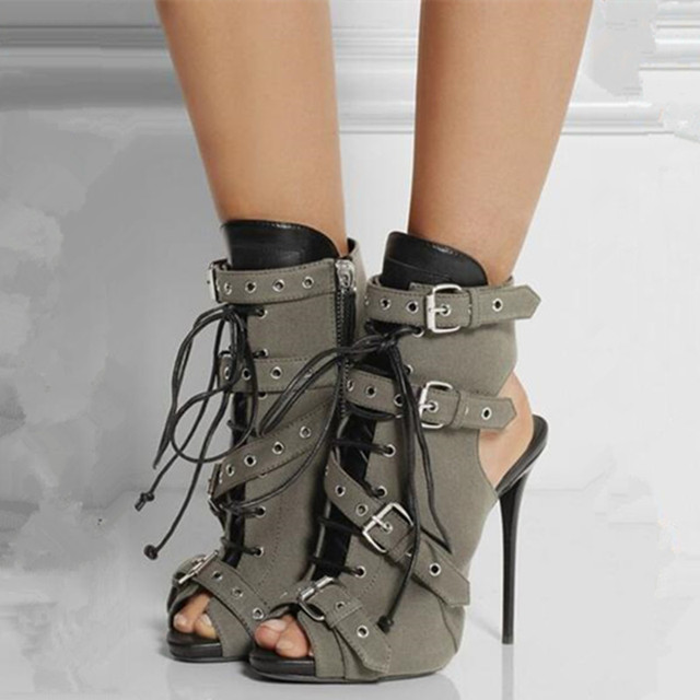 862ff68513ef Multi Strap Lace Up Gladiator Sandals Women Pumps Open Toe Summer Boots New  Fashion Short Motorcycle Booties Cutouts Ankle Boots