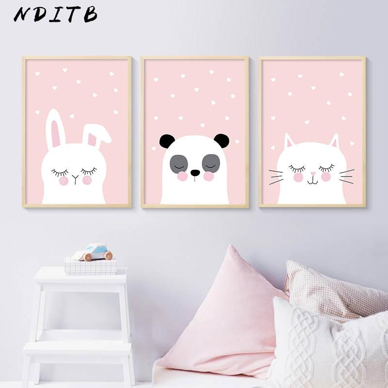 NDITB Woodland Animal Rabbit Panda Cat Canvas Poster Cartoon Nursery Wall Art Print Painting Nordic Kids Decoration Pictures