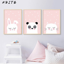 NDITB Woodland Animal Rabbit Panda Cat Canvas Poster Cartoon Nursery Wall Art Print Painting Nordic Kids Decoration Pictures