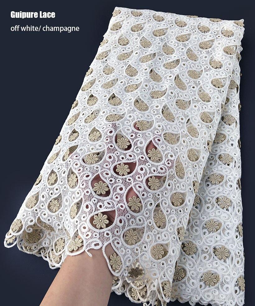 Classique lisse coton Guipure dentelle très doux africain cordon dentelle nigérian suisse vêtement tissu peau saine qualité supérieure 5 yards/pc