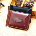 2015 Hot Selling Mini Money Clip Fashion Men Wallets Male Purse Men Leather Wallet Brown Black