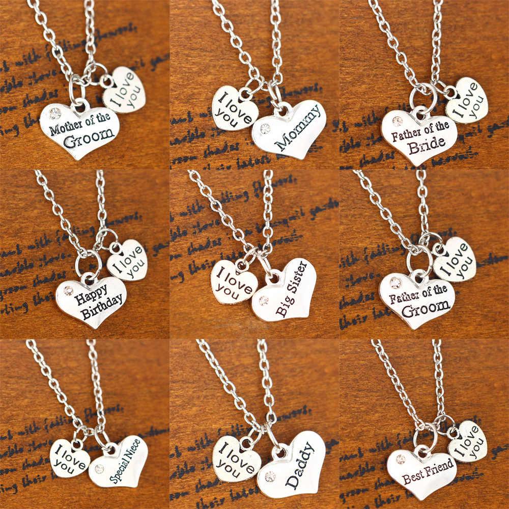 I Love You Madre Padre hermana de la novia novio cumpleaños corazón colgante collar mujeres hombres familia joyería cadena regalo fiesta boda