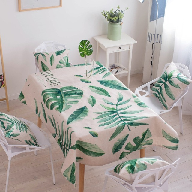 Bon Rectangular Cute Tablecloth Linens Cotton Green Leaf Printed Larger Size  Tablecloths Waterproof Napkins Decorative Fabric Cover