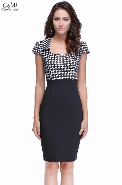 Autumn Dress Women Vintage Checked Party Wear To Work Sheath Pencil Bodycon Dress Vestidos 30