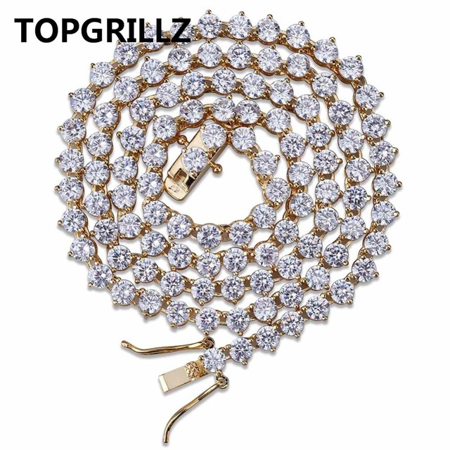 db9036378a696 US $23.9 25% OFF|TOPGRILLZ Bling 3 Prong Tennis Chain Necklace 4mm 6mm Men  Hip Hop Charm Gold/Silver Color Jewelry Iced Out AAA Cubic Zirconia-in ...