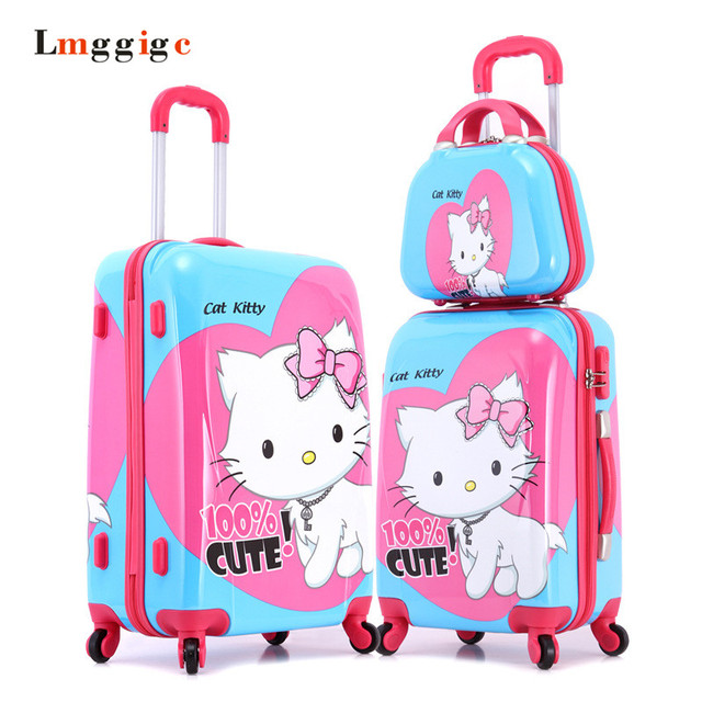 "20""24""inch HELLO KITTY trolley Luggage,Female Child KT Suitcase,Nniversal wheels Kit  travel bag,Password box colour picture bag"