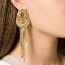 JURAN 2017 New Long Vintage Metallic Knot Tassel Earring Gold Silver Simple Minimalist Dangle Earrings For Women Jewelry X1209-1