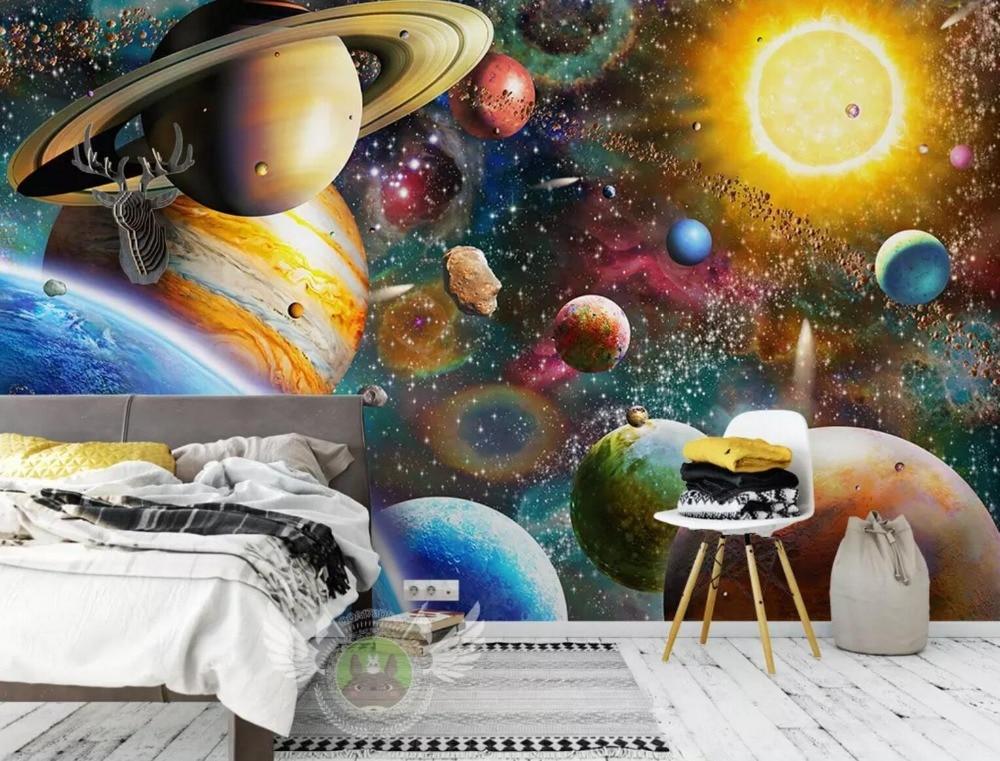 [Self-Adhesive] 3D Sun Planet Universe 32 Wall Paper Mural Wall Print Decal Wall Murals