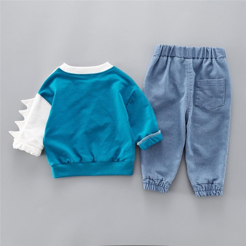 Boys clothes Child Kids Winter Boys Cartoon Shark Long Sleeve Tops Denim Pants Outfits Set #4j22 (22)