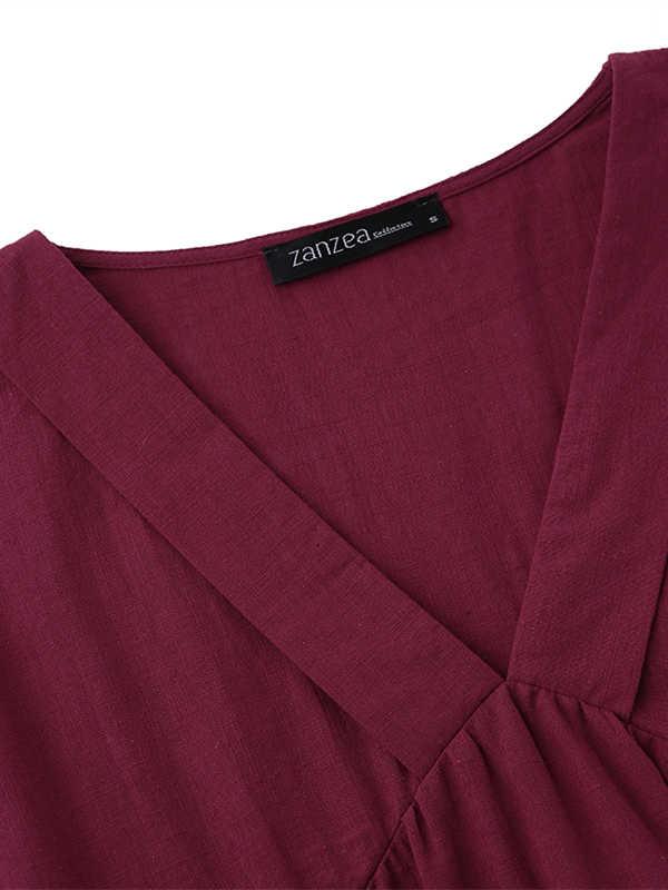 בתוספת גודל לפרוע שמלת נשים של סימטרי שמלה קיצית ZANZEA 2020 אופנה קיץ מקסי Vestidos נקבה קצר שרוול Robe Femme 5XL