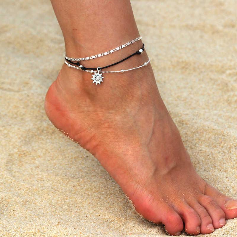 Chain Anklet Silver Retro Boho Sun Flower Charm Bracelet Barefoot For Women Gift