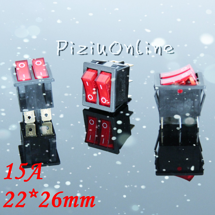 1pcs/lot YT159    Rocker Switch  Six foot double ship type switch boat switch with red indicator light Free Shipping on the open shanghai wing star ship switch kcd6 21n f ip65 waterproof switch 6a 4 foot red 220v