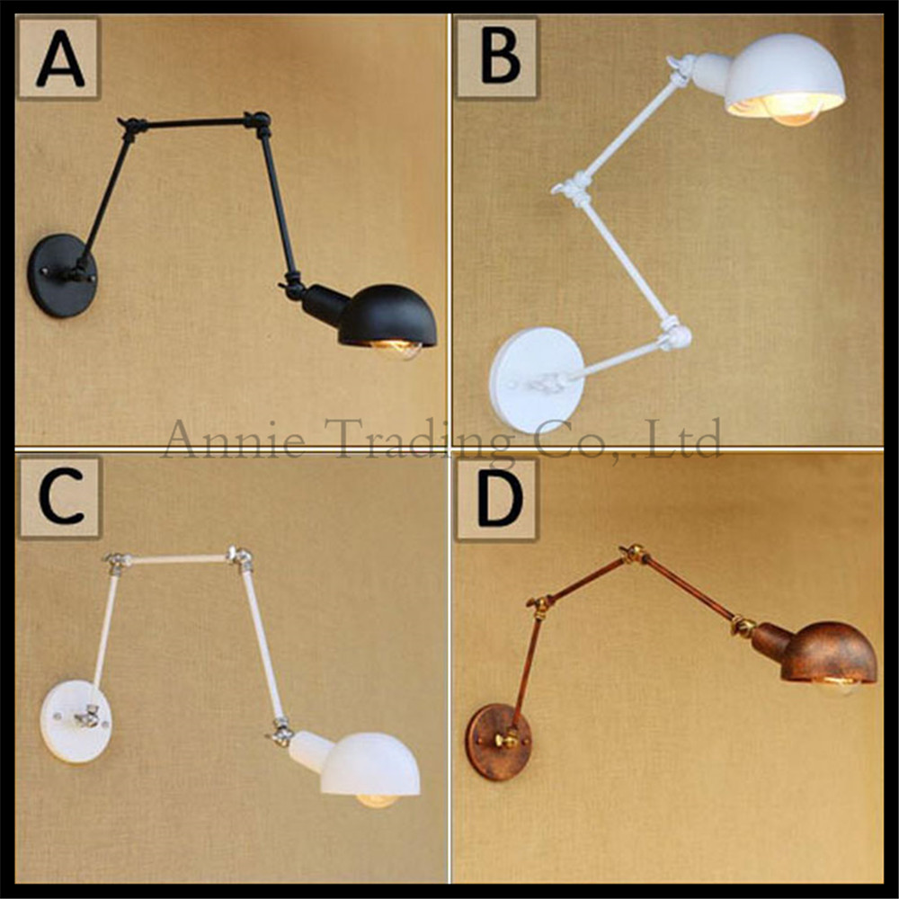 Black white Rust Wall sconces lamp 3 swing arms adjustable study Restaurant art lights decorative wall light sconce fixture ac100 240 wall sconces lamp three arms adjustable study restaurant art lights decorative wall light sconce fixture