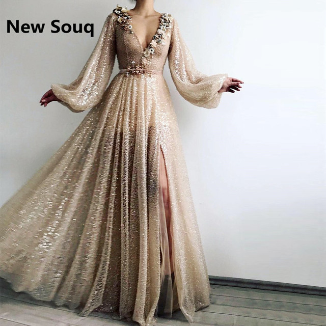 73ebc1bb684 2019 Sexy High Split Sequined Prom Dresses Deep V-neck Long Sleeves Party  Dress 3D Floral Applique Formal Evening Gowns