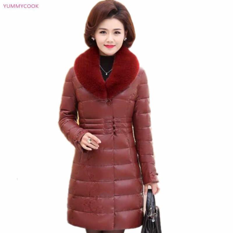 Зимнее пальто для женщин среднего возраста, высококачественное элегантное модное плотное теплое пальто с меховым воротником, куртка, длинное хлопковое кожаное пальто, 284