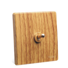 2pcs Luxury Yellow Wood Color BE Toggle Switch Retro Old Fashioned One Open Single-control Bedside Power 86 Type