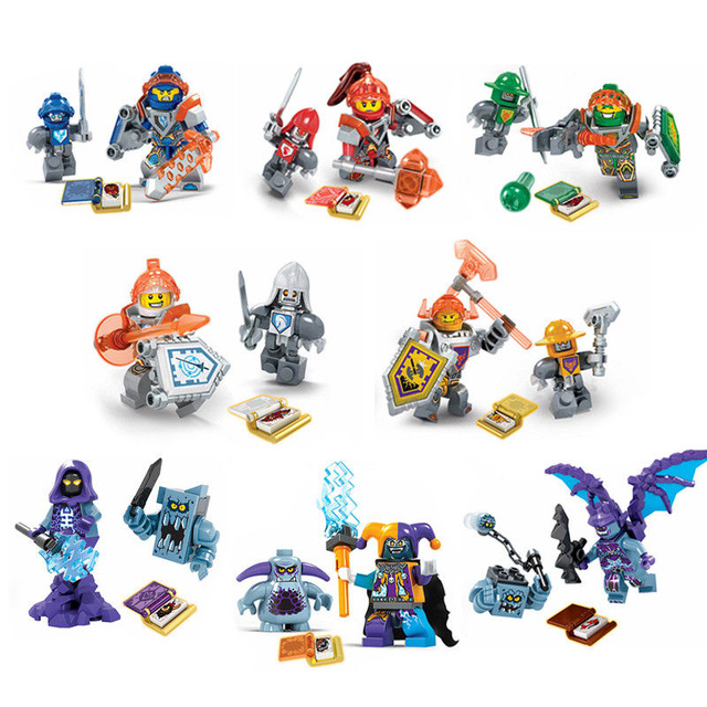 [Bainily]8pcs Building Blocks Nexo Knights Toys Figures Toys Bricks For Children Gifts Compatible With LegoINGly Nexus Knights bela nexus knights building blocks toy set lance s mecha horse gifts toys compatible with 70312 knights robotics mindstorm