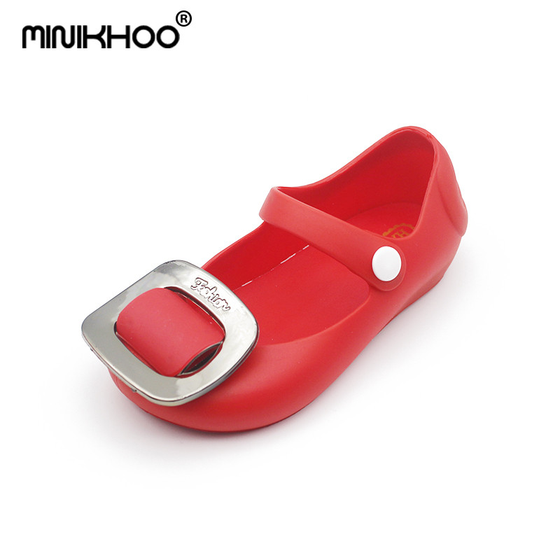Mini Melissa 2018 New Square Buckle Jelly Sandals Melissa Girl Jelly Sandals Cute Baby Shoes Mini Melissa Sandals High Quality