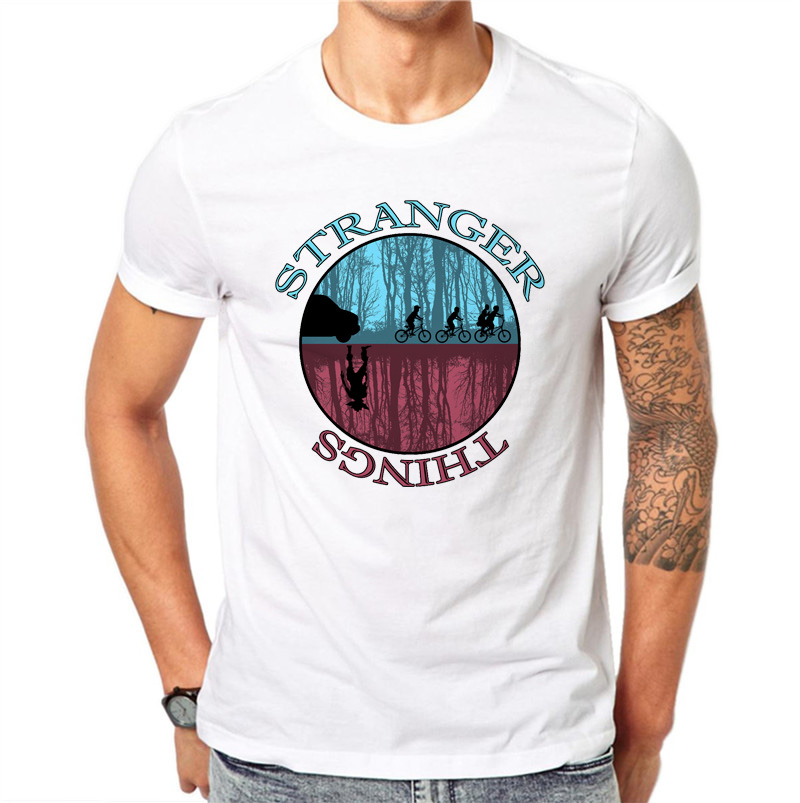 100% Cotton Simple Stranger Things Design Men T Shirt Male