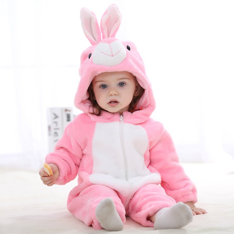 Lovely Big Pink Raabbit Comfortable Baby Climb Clothes For Age 0 24 Months Handmade High Quality Baby Clothes Rompers in Rompers from Mother Kids