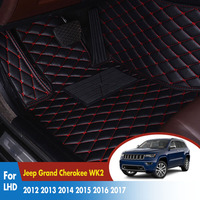 Car Floor Mats For Jeep Grand Cherokee WK2 2012 2017 Car Interior Accessories Waterproof Anti dirty Leather Rugs Dash Mats LHD