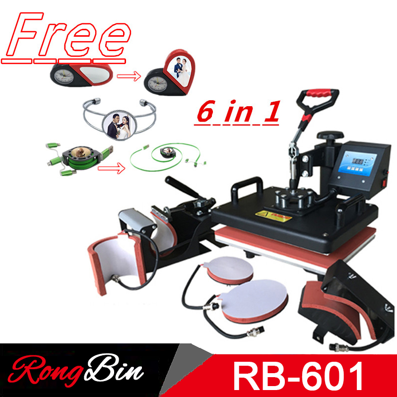6 in 1 Combo Heat Press Machine Sublimation Heat Press Digital Heat Transfer Machine Printer For Mug Cap T shirt Phone cases стоимость