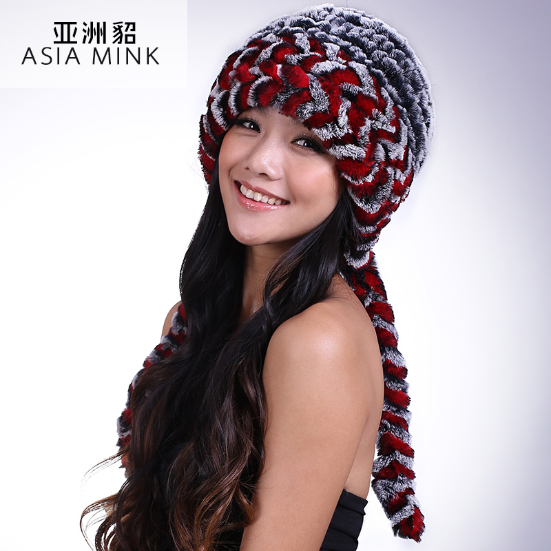 8373ef7088a Asian new winter mink fur hats Rex Korean children Maomao knit bonnet tidal  tail braid cap-in Skullies   Beanies from Apparel Accessories on  Aliexpress.com ...