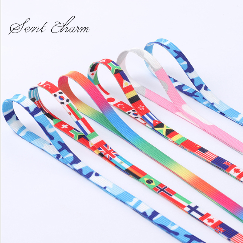 SENTCHARM Colorful Laces Printed Rainbow Flat Shoelaces Gradual Change Color Men And Women Sports Leisure Canvas Shoes 120CM