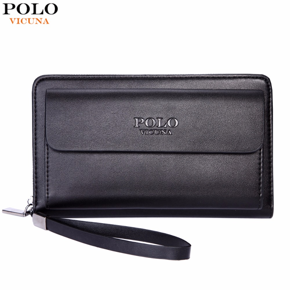 VICUNA POLO Large Capacity Business Leather Mens Clutch Handbag With Gift Pen Practical Casual Big Man Clutch Wallet Man Bag 2015 famous brand mens genuine leather business wallet man male multifunction large capacity clutch bag handbag wallet purses