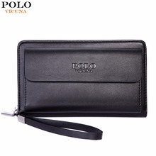 VICUNA POLO Large Capacity Business Leather Mens Clutch Handbag With Gift Pen Practical Casual Big Man Clutch Wallet Man Bag