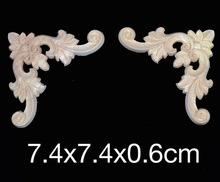 7.4x7.4x0.6cm Wood carving wood trim angle flowers flower applique Decal European style solid furniture cabinets decorative