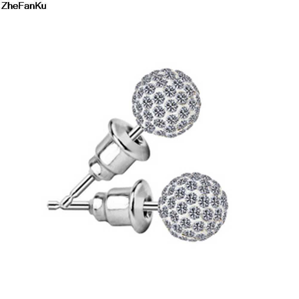 652223875 ... 1 pair Pave Disco Ball Genuine Stud Earrings High Quality 10mm 8mm 6mm  Clear Austrian Rhinestone ...