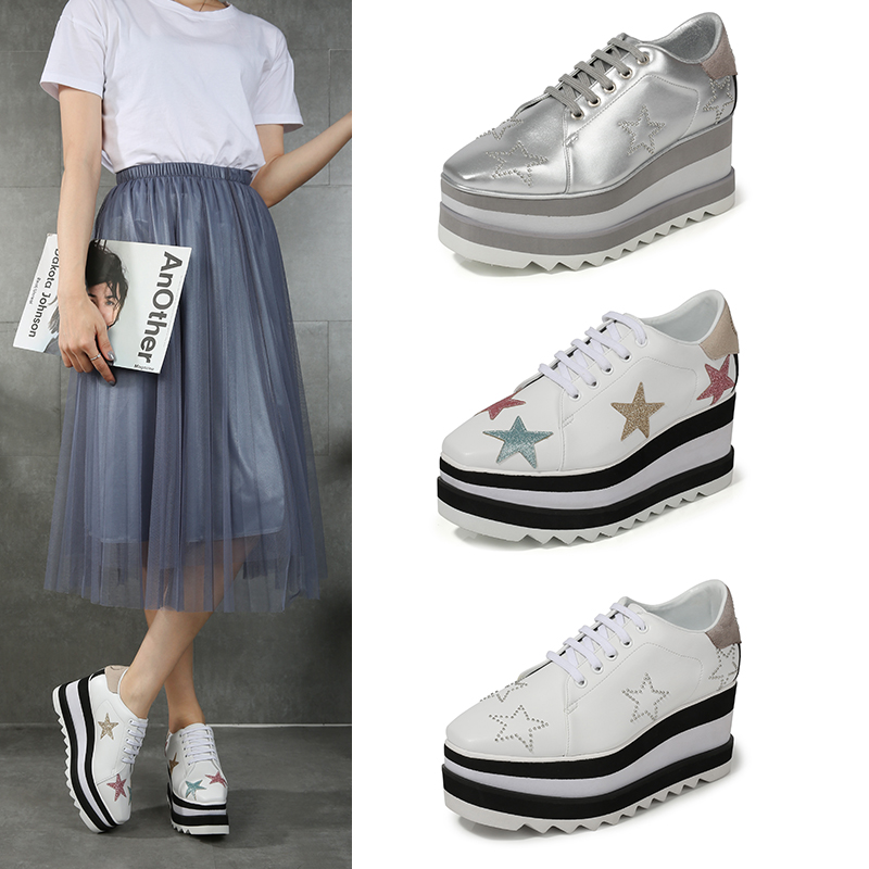 Height Increasing Star Rivet Shoes Classic Platform Rose Gold Shoes Mix Color Square Toe Wedge Shoes