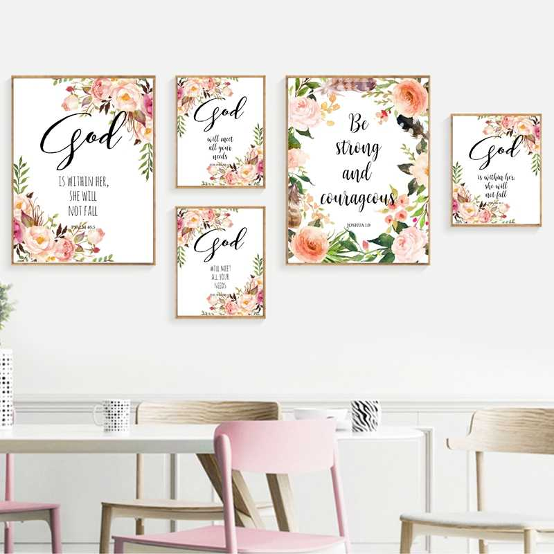 bible verse god quotes wall art canvas painting watercolor flowers