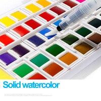Превосходный Многоцветный портативный дорожный твердый пигмент водного цвета набор красок с кисть Акварельная ручка для художественных п...