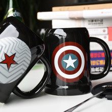 Fashion Ceramic Mugs Cup With Spoon and Cover Milk Mug Travel Cup Iron man and batman