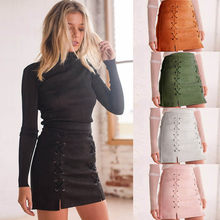 Leather Suede Pencil Skirt For Women Mini Skirt 2018 Spring High Waist  Short Bodycon Lace-Up Skirts Sexy Split Skirts Ladies 34200224750b