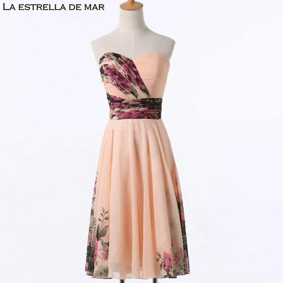 Robe Demoiselle D'honneur2018 Neue Chiffon Digitaldruck Eine Linie Tee Länge Brautjungfer Kleider Hochzeit Gast Kleid Plus Größe