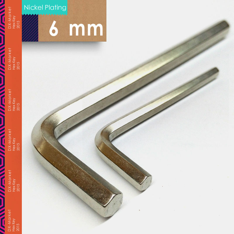 6 mm, 20 pcs / lot, DIN911 clé hexagonale de 6 mm, clé à main Allen pour boulon, placage au nickel m6, fabricant de fixations en Chine