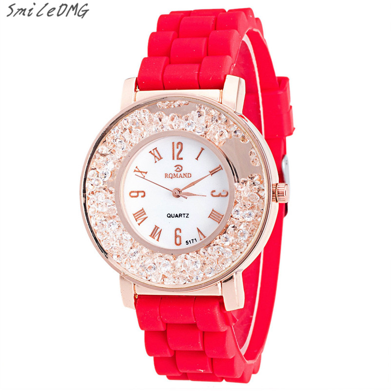 Hot Sale Lady Silicone Rhinestone Rhinestone Quartz Bracelet Watch Watch High Quality Free Shipping,Nov 23 hot sale lady watch women crystal stainless steel analog quartz wrist watch bracelet high quality free shipping nov 23
