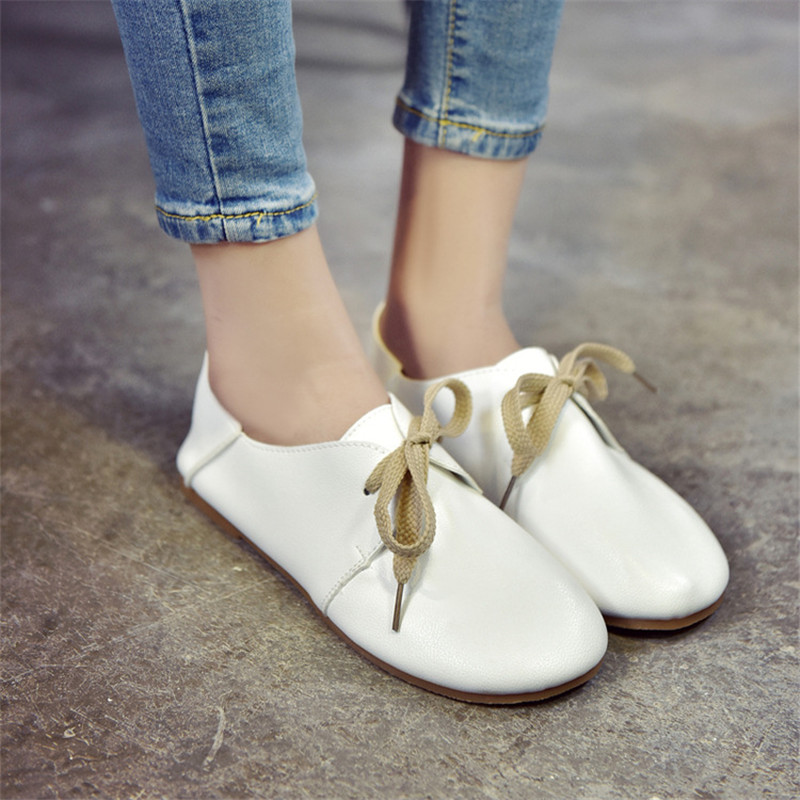 Fashion Brand Women Shoes Comfort Round Toe Leather Ballerina Ballet Flats Portable Travel Flats lace up Shoes 2018 women shoes comfort pointed toe patent leather ballerina ballet flats portable travel flats summer slip on shallow shoes